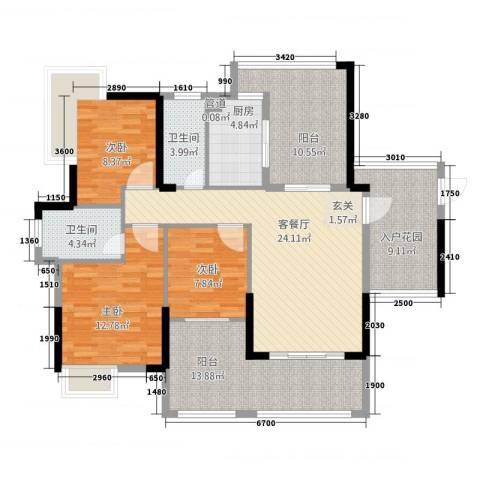 依云小镇3室1厅2卫1厨143.00㎡户型图