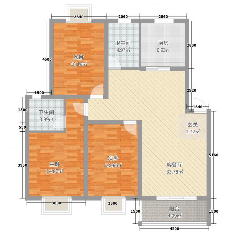 豪庭尚城3212.52㎡F户型3室2厅2卫1厨