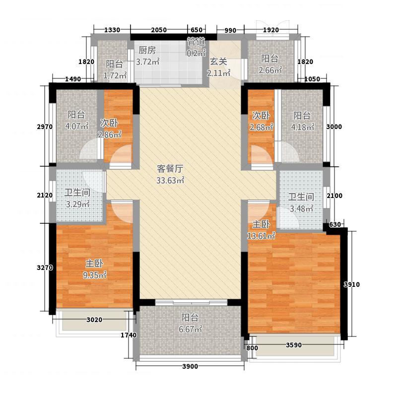 华熙528艺术村5281118.00㎡1批次标准层D2户型4室2厅2卫1厨