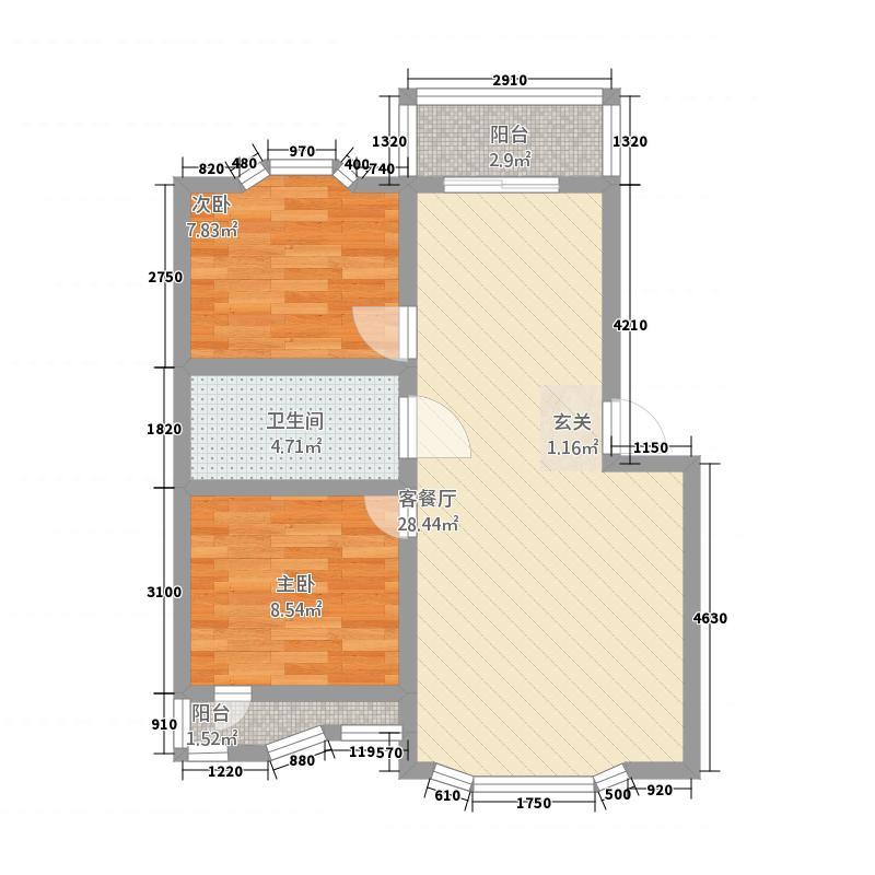 德丰香格里拉花园78.57㎡户型2室2厅1卫1厨