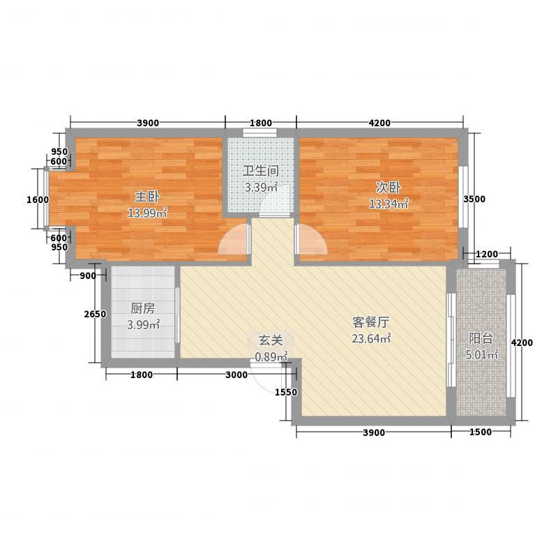 华福豪庭建筑面积户型2室2厅1卫1厨