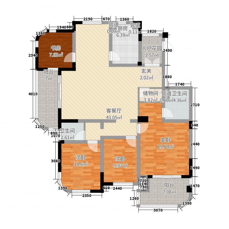东湖雅苑4218.20㎡K型户户型4室2厅2卫1厨