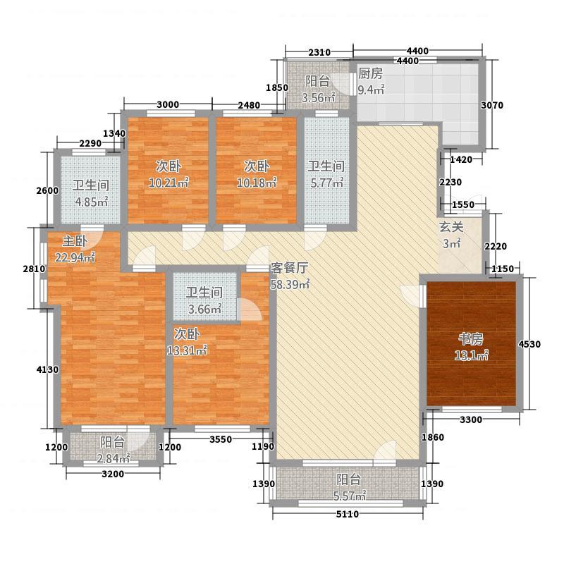 香巴拉家园331182.66㎡30号、31号、33号楼E户型5室2厅3卫1厨