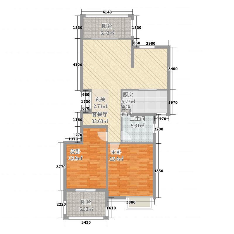 东方卢浮郡123.20㎡A1户型2室2厅1卫1厨
