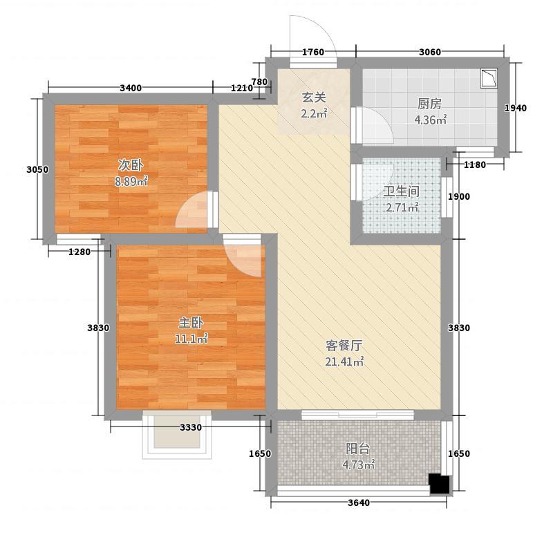 新澳・泰景城27.32㎡9#B户型2室2厅1卫1厨