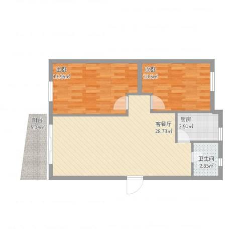 泰和花园2室1厅1卫1厨83.00㎡户型图