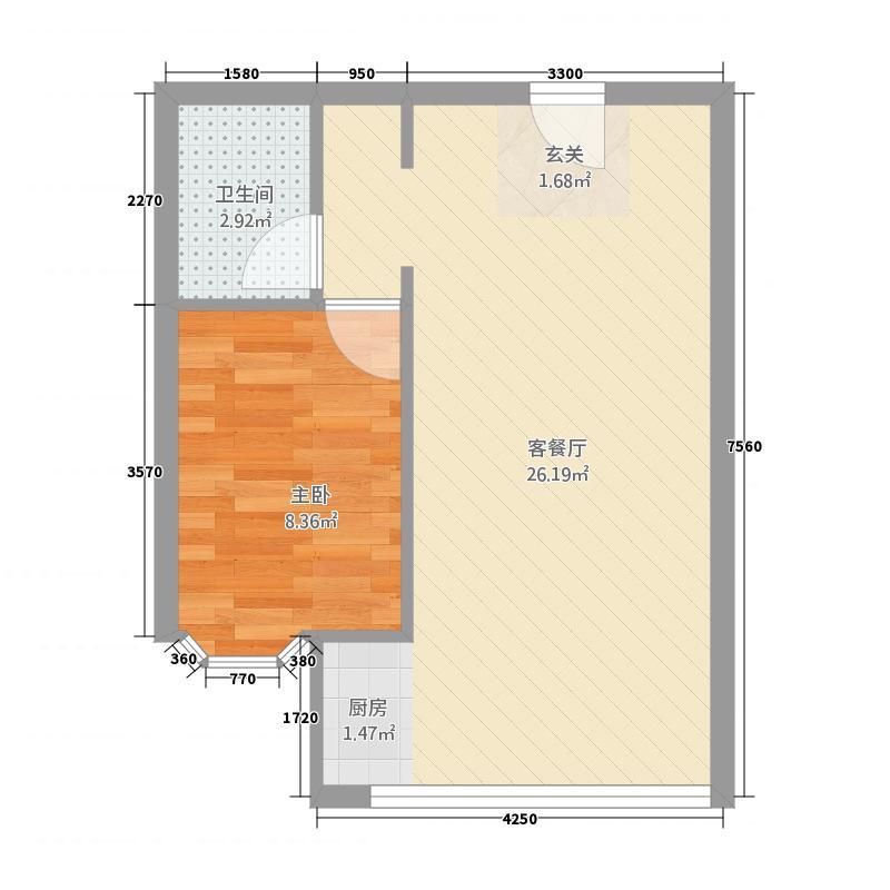 德丰香格里拉花园53.52㎡户型1室1厅1卫1厨