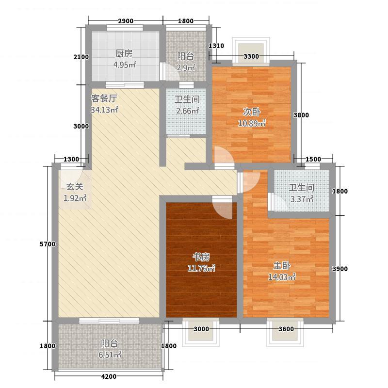 万和华府二期1.20㎡户型3室2厅2卫1厨