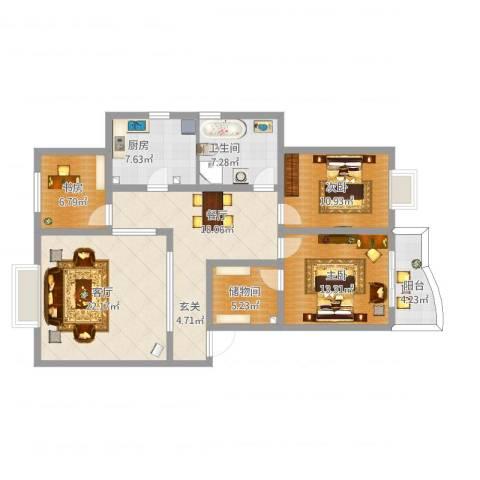中华苑3室2厅1卫1厨139.00㎡户型图