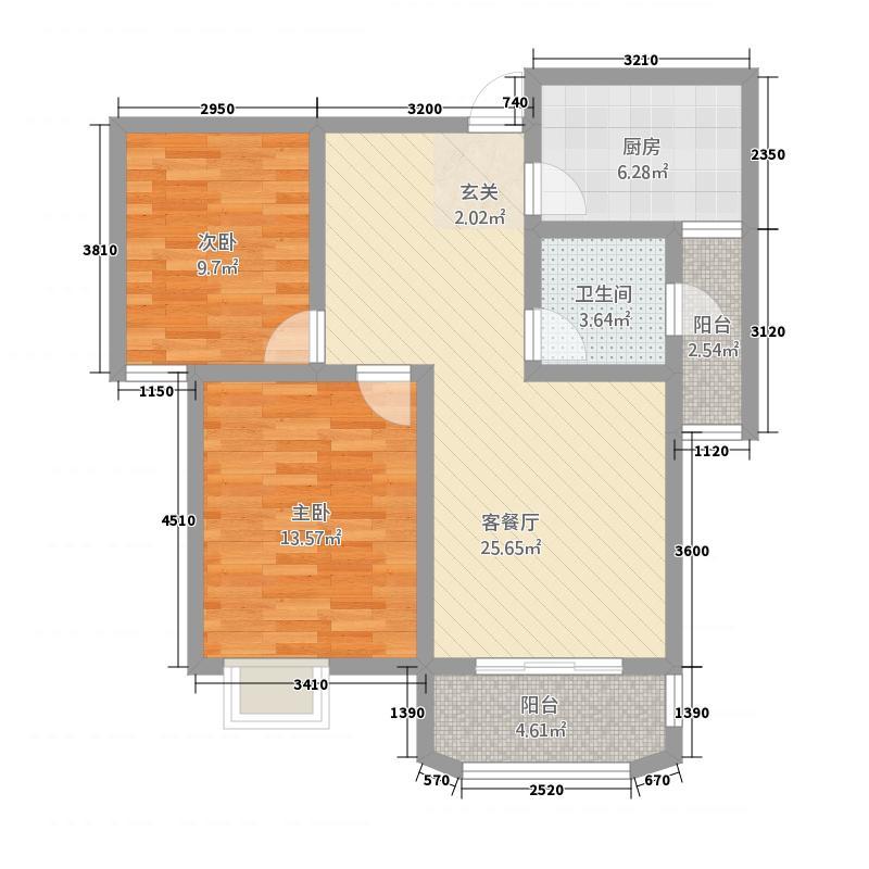 景泰花园2215.20㎡B户型2室2厅1卫1厨
