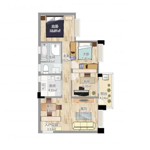 金域廊院1室1厅1卫1厨88.00㎡户型图