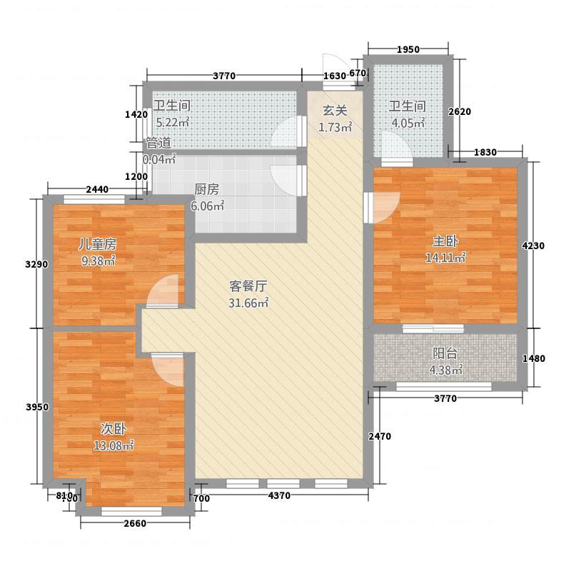 华港・世纪城124.20㎡A座、B座标准层A3户型3室2厅2卫1厨