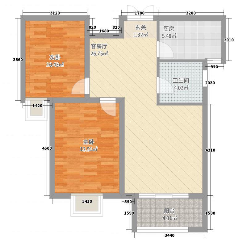 中景香颂22.42㎡H户型2室2厅1卫1厨