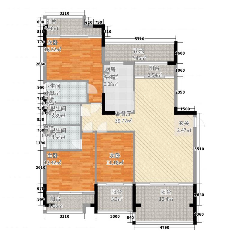 翡翠明珠231143.88㎡一期2座301户型3室2厅3卫1厨