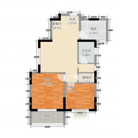 紫郡观澜(西玛住宅小区)2室1厅1卫1厨87.00㎡户型图
