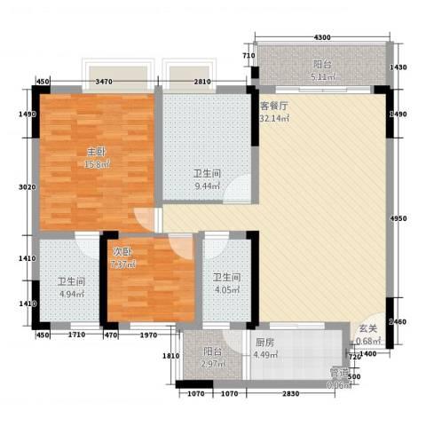 勒水名筑2室1厅3卫1厨111.00㎡户型图