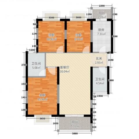紫郡观澜(西玛住宅小区)3室1厅2卫1厨121.00㎡户型图
