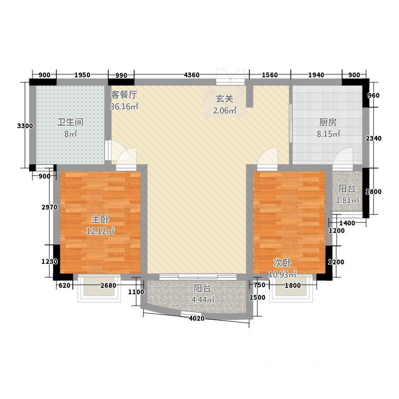 紫金花苑12118.85㎡F1户型2室2厅1卫1厨