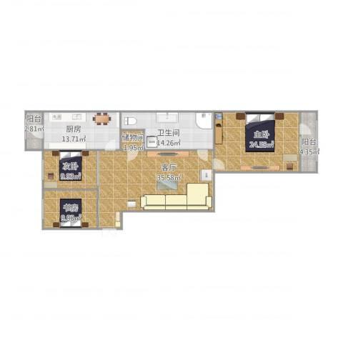 和兴小区3室1厅1卫1厨156.00㎡户型图