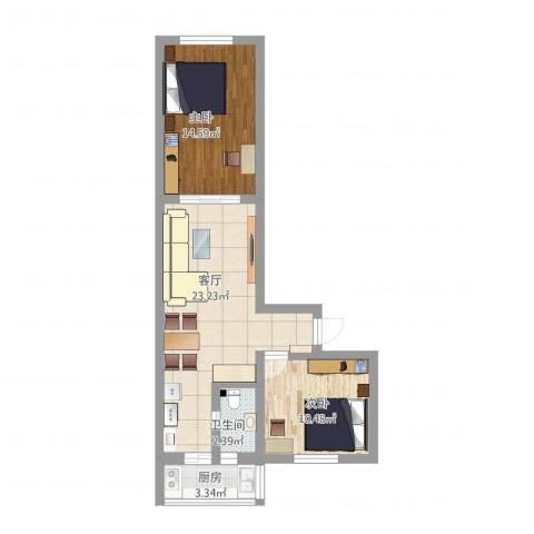 金川西里5-3-22室1厅1卫1厨80.00㎡户型图