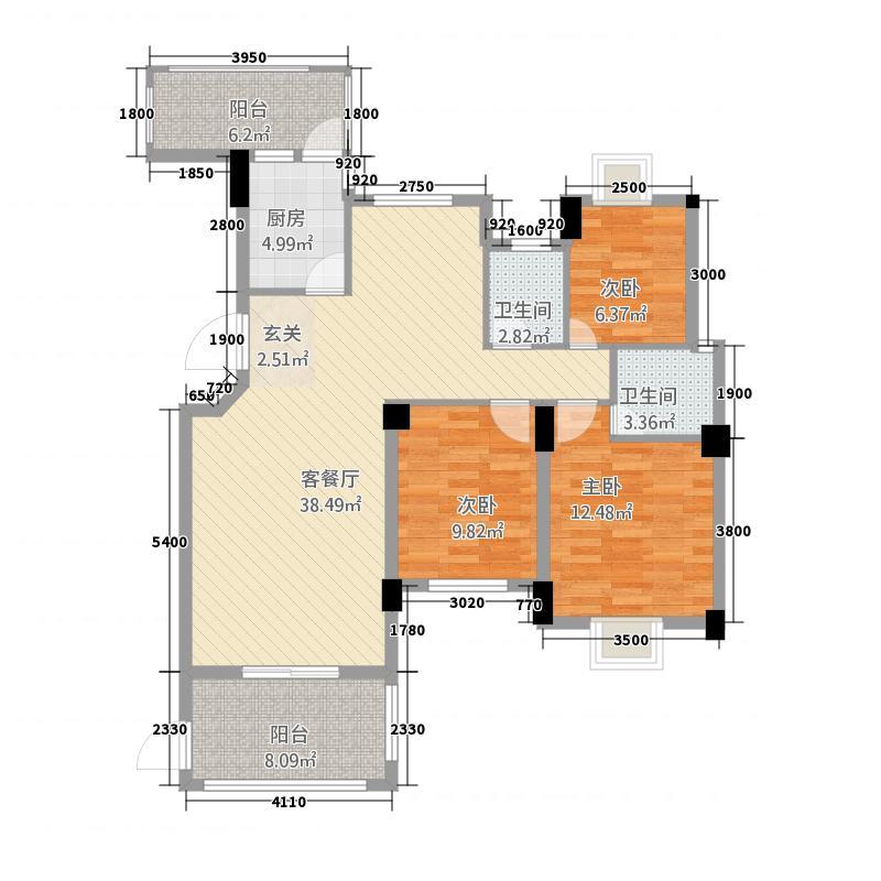 永昌状元第1322112.38㎡1#户型3室2厅2卫1厨