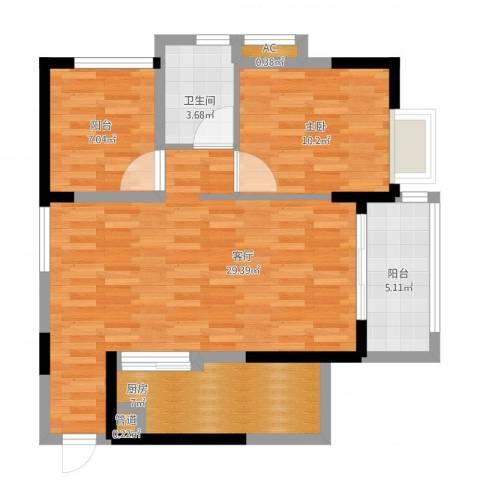广州星河・山海湾1室1厅3卫1厨91.00㎡户型图