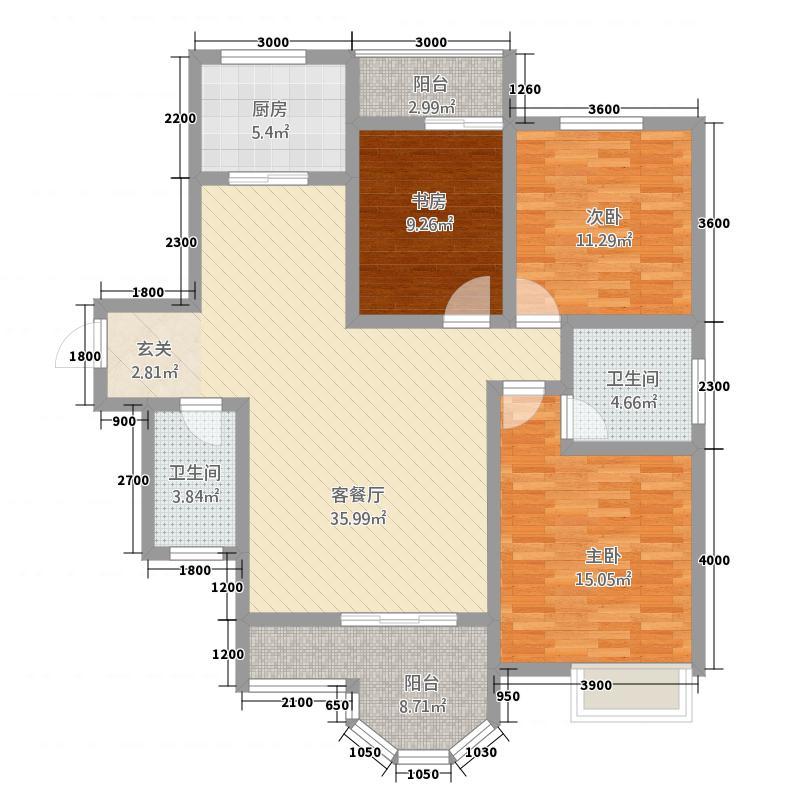 铜川七彩国际133.20㎡户型3室2厅2卫1厨