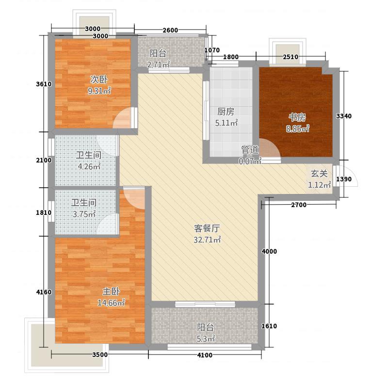 世纪华府3.20㎡户型3室2厅1卫1厨