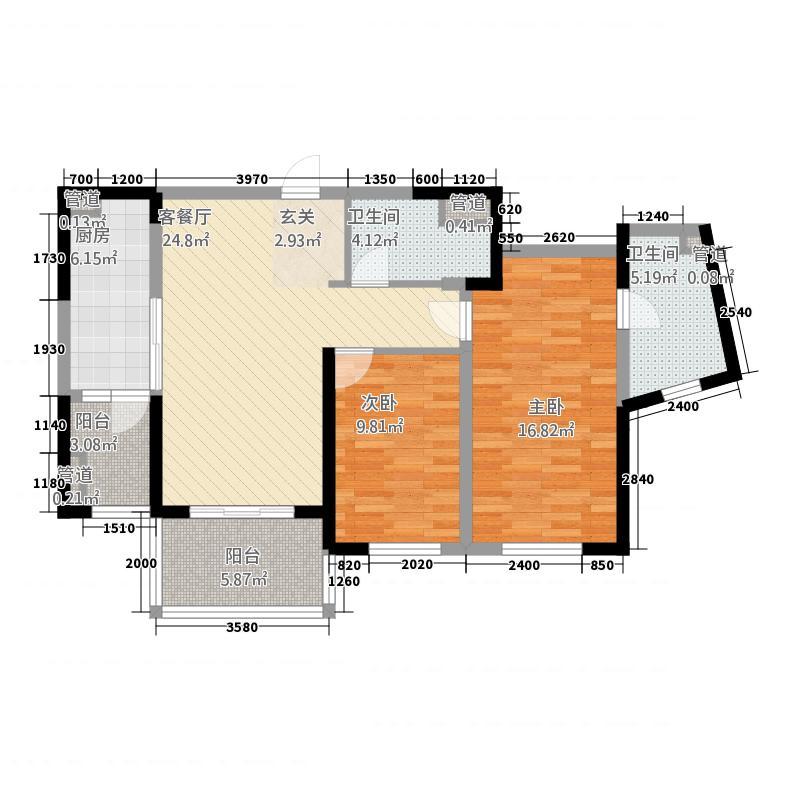 晋合湘水湾112.72㎡1期1-2栋A2户型2室2厅2卫1厨