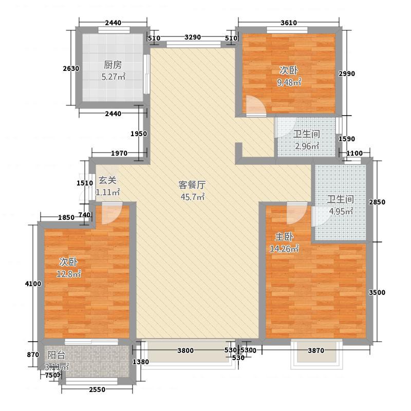 中景香颂6313.38㎡6B户型3室2厅2卫1厨