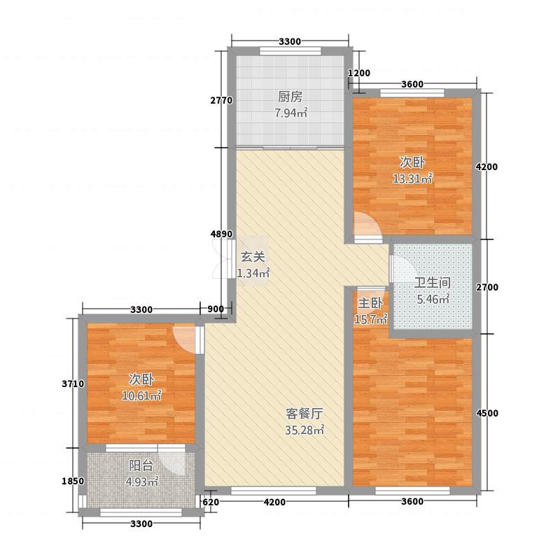 公园1号1221125.25㎡K户型2室2厅1卫1厨