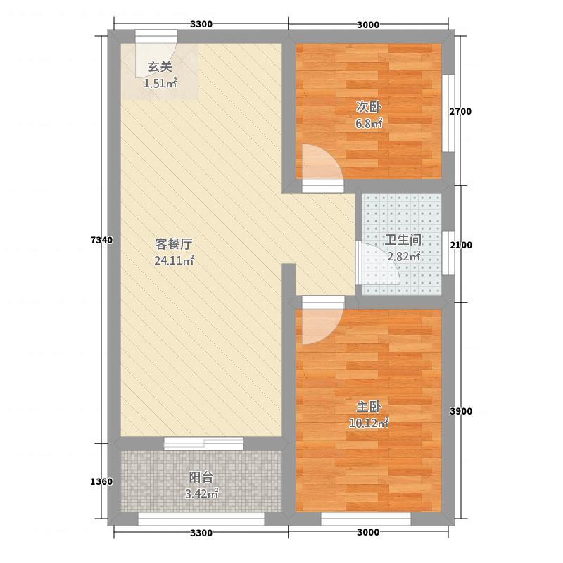 四通八达国际广场275.82㎡B2户型2室2厅1卫1厨