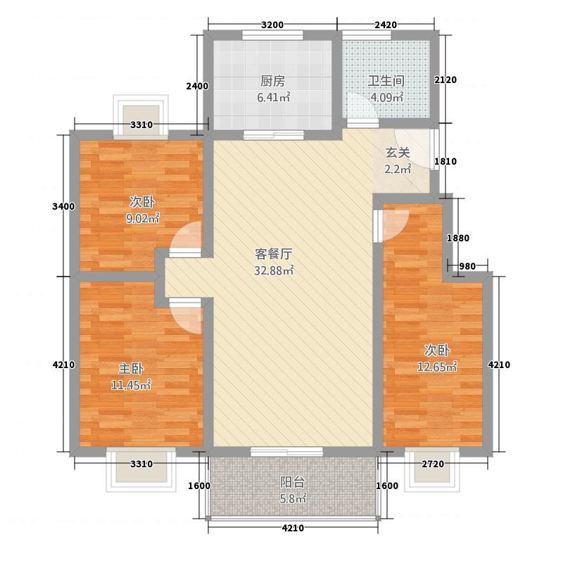 天鹅湖318.34㎡D3标准层户型3室2厅1卫1厨