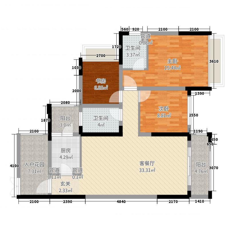 北部新城81212.52㎡8栋1\2号房户型3室2厅2卫1厨