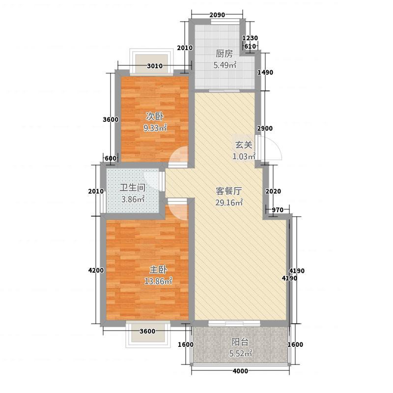 天鹅湖28.22㎡D2标准层户型2室2厅1卫1厨