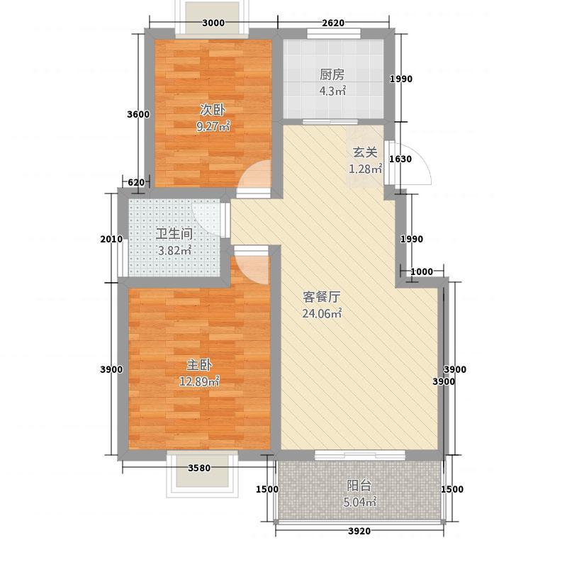 天鹅湖181.16㎡D1标准层户型2室2厅1卫1厨