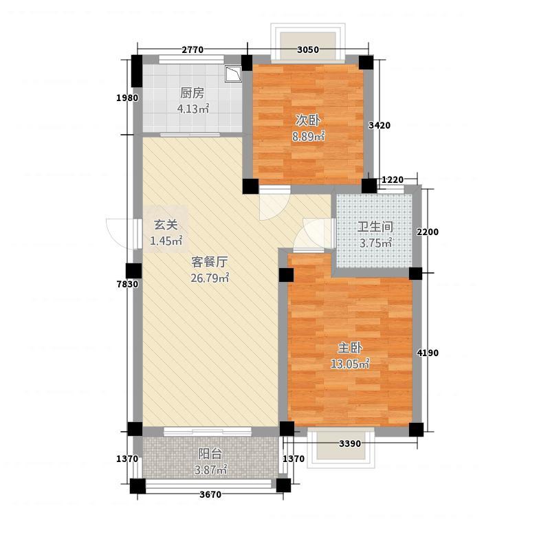 卡森・卫星城88.20㎡卡森・景香园二期2-A户型2室2厅1卫1厨