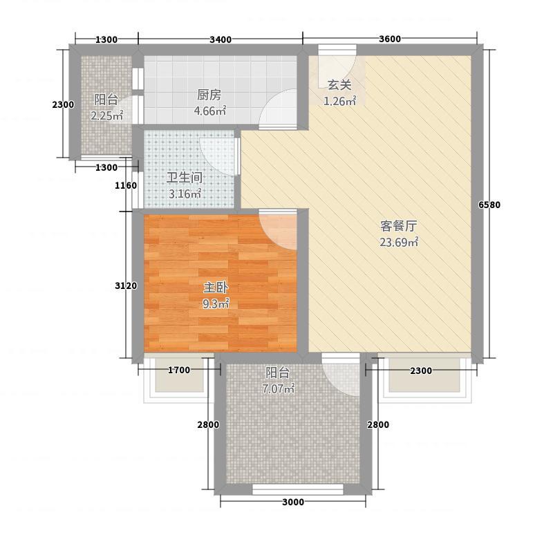 永川协信中心67.20㎡C一变二户型2室1厅1卫1厨