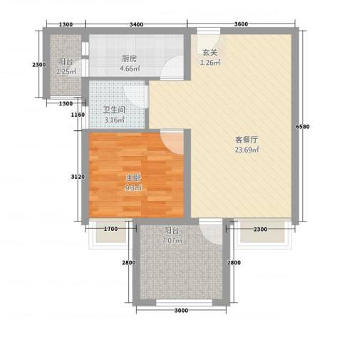 永川协信中心1室1厅1卫1厨67.00㎡户型图