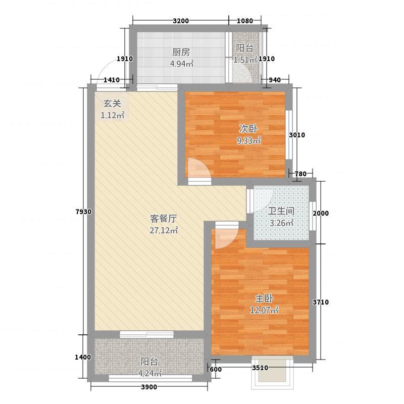 天鹅湖1112138.38㎡11、12、13#高层G2户型2室2厅1卫1厨