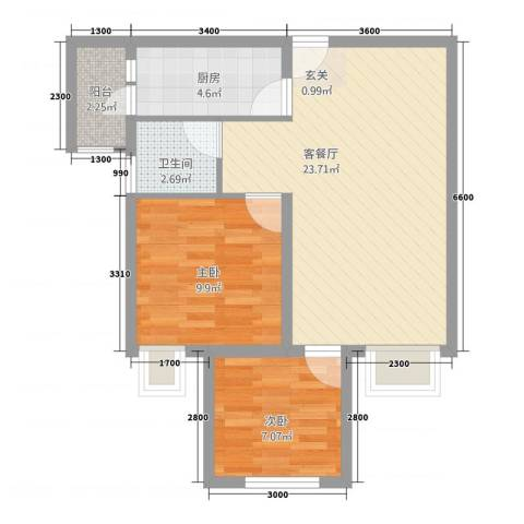 永川协信中心2室1厅1卫1厨2367.00㎡户型图