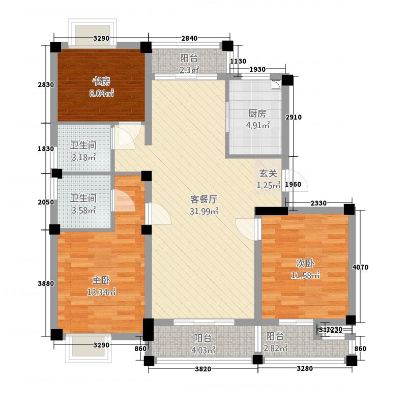 卡森・卫星城126.20㎡卡森・景香园3-A户型3室2厅2卫1厨
