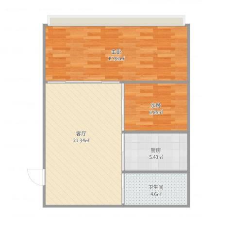 书香名门2室1厅1卫1厨75.00㎡户型图