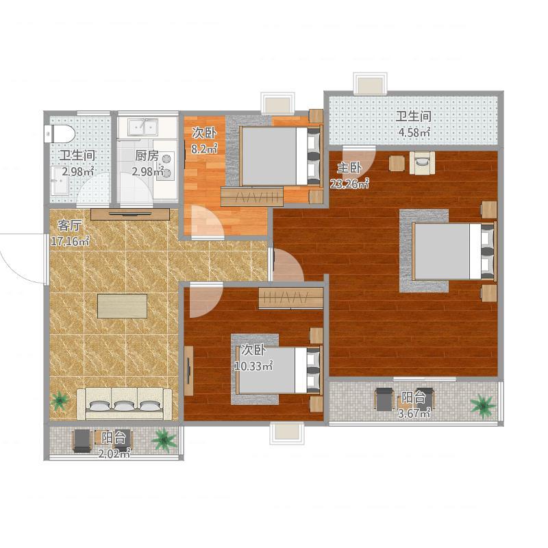 3室二厅二卫140方