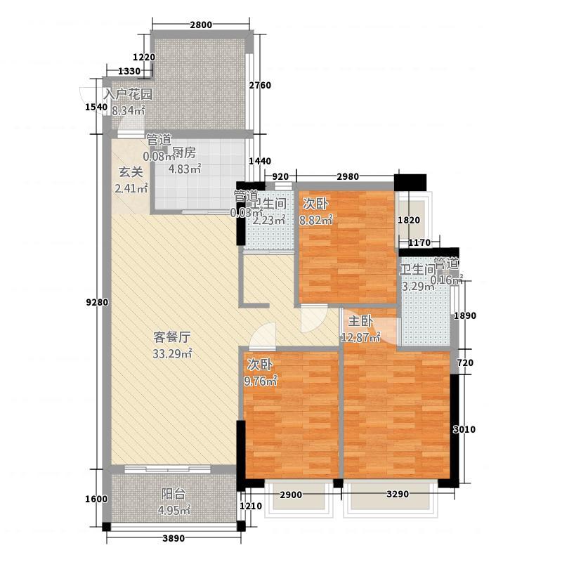 联城新世纪21.20㎡2栋1单元1D2室户型2室2厅1卫