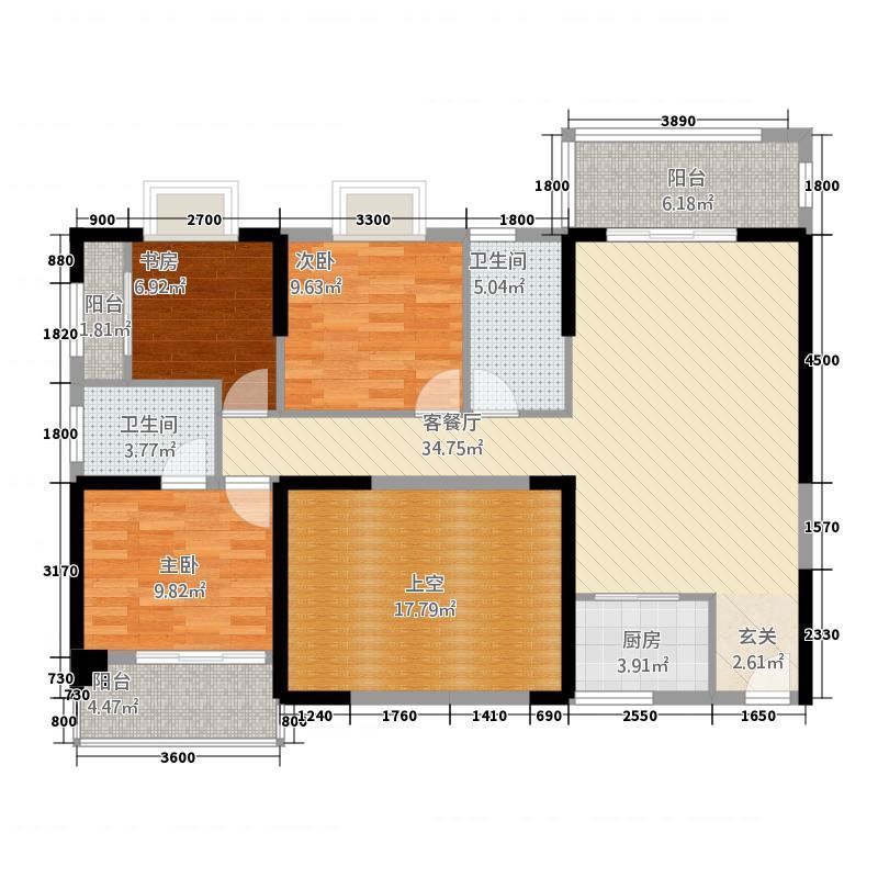 福泰海湾新城1124.20㎡A1户型3室2厅2卫1厨