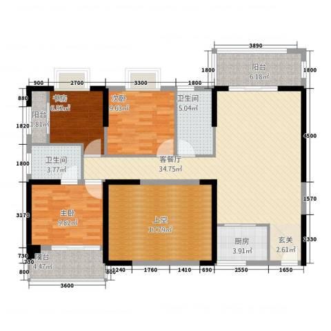 福泰海湾新城3室1厅2卫1厨1124.00㎡户型图