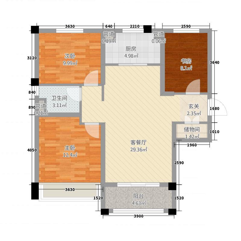 石家庄碧桂园117.20㎡高层YJ105-A户型3室2厅1卫1厨