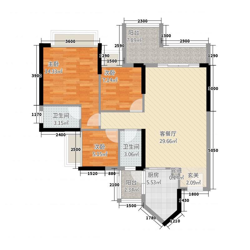 合峰东岸名苑448.72㎡4座04户型3室2厅2卫1厨