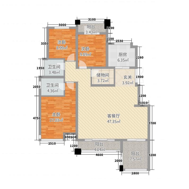 天山熙湖二期36147.52㎡3-6层标准层户型3室2厅2卫1厨